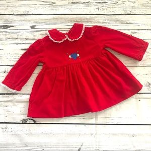 Vintage 1980's red velvet heart embroidered dress